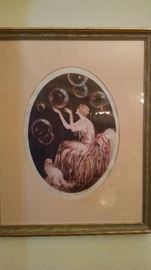 ART-DECO LADY W/ BUBBLES PRINT