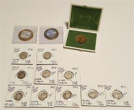 HCC004 Olympics Medal, Mercury Dimes, Bi-Metal Silver Pesos & More