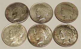 HCC006 1922-1923 US Peace Dollars Nice Toning & Grade