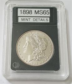 HCC033 1898 Morgan Silver Dollar MS65
