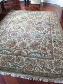 """23. Handmade Oriental Wool Rug in Floral Motif in Earthtones (9' x 12'6"""")"""