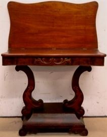 Lyre base Victorian game table