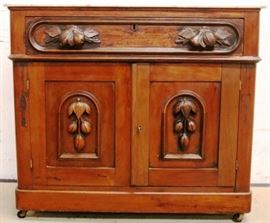 Carved Victorian marble top washstand