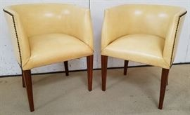 Pair Modern History leather club chairs
