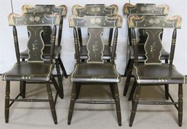 Set primitive PA Dutch stenciled chairs