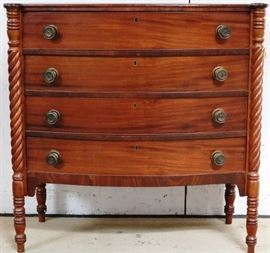 Antique Sheraton bow front chest