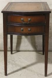 Leather top 2 drawer stand