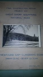 Fantastic, Historic Document  Of the Final Construction Project for Newfound Gap-Clingmans Dome Road finished Nov 22, 1935.