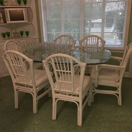 Glass topped rattan kitchen set