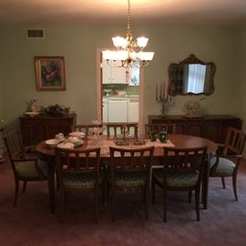 Vintage dining set with 8 chairs