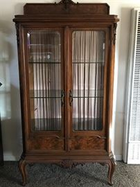 Early 1900's French Walnut Display Cabinet