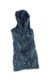 BLUE FOX FUR SECTIONS HOODED VEST PARKA JACKET COAT STROLLER
