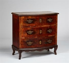 Italian 18C Inlaid Neoclassical Bow Front Chest          Fine Italian 18th century inlaid neoclassical three drawer chest. The early Italian 18th century bow front chest appears to have the original hardware. There are old repairs and veneer loss and evidence of old insect damage. The drawer slides have been rebuilt. Measures 35.2 inches high x 35.5 inches wide x 18.8 inches deep.