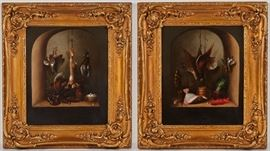 Pair of 19C English Game Oil on Canvas Paintings             British 19th century still life - nature morte very well executed paintings. Illegibly signed on reverse, upper left corner. Oil on canvas. Good condition, one has small patch upper right, light retouch along the frame edge. One painting depicts hanging pheasants, shore birds and sea life. The other depicts a rabbit in the center with game birds and a basket of eggs. Paintings measure 10 inches high x 12 inches wide. Antique gilt frames measure 17 inches high x 15 inches wide. Both paintings sold together as one lot.