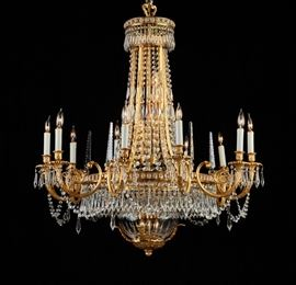Neoclassical Plaza Hotel -New York -Crystal Chandelier  Plaza Hotel NY Neoclassical crystal handelier. The classic cut glass crystal and gilt brass chandelier from the Lady Mendl Suite of New York's legendary Plaza Hotel. The stunning basket form chandelier hung for decades in the dining room of the exclusive Lady Mendl Suite, named after the international hostess and interior designer, Elsie de Wolfe Mendl. In 1948 Marlene Dietrich took a year long hiatus at The Plaza, and lived in the Lady Mendl suite for a little over a year before filming Alfred Hitchcock's Stage Fright. The hotel closed its doors in April 2005 to undergo an extensive $350 million renovation and restoration. The classic and sparkling chandelier was sold with the contents of the glamorous and celebrated New York City landmark hotel at the Christie's, New York - March 15, 2006 auction. The chandelier sold for $3840 and is pictured on page 228 of the Christie's auction catalog, lot number 226. The chandelier is suspen