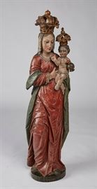 """Italian 19C Madonna Child Carved Wood 51"""" Statue  Italian 18th or 19th century polychrome wood carving of the madonna and child. The figural carved statue is realistically painted with highly detailed carving. Inscribed on the base; Aves Maria Laureto. The crowns are removable. Laureto is an Italian town just south of Fasano. The family history of the carving is that family members were married in Italy and received the sculpture from a local church. In good condition with age cracks, paint loss and a glued finger on the child. We had difficulty determining the specific age of the carved figure. Appears to be well over 150 years old and could be considerably older. Measures 51 inches high."""