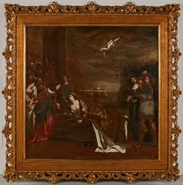 Lucrezia Borgia Allegorical early 19C Oil Painting          Allegorical early 19th century oil painting of Flemish, French or Italian origin. Signed lower left, Sis. Oil on canvas. Good condition, relined and restored. Partial label on reverse inscribed Didon. Painting measures 40.8 inches high x 40.8 inches wide. Ornate antique gilt frame measures 55 inches high x 55 inches wide.