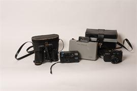 Vintage Polaroid Camera, Vivitar PS80,  Sans and Streiffe 7x35 Binoculars
