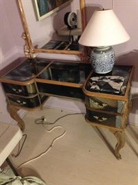 beautiful smoked glass desk - needs some glass repair