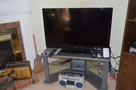 Flat screen TV; TV stand