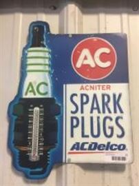 AC Delco metal sign thermometer.