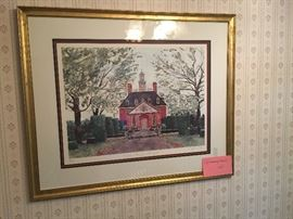 Watercolor of Williamsburg, signed and numbered