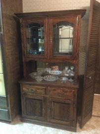 Oak China Hutch with leaded glass doors
