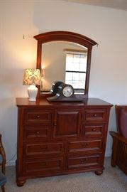 "Hardwood Dresser With Mirror 42"" Tall X 50"" Wide"