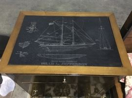 Pair of end tables/night stands featuring inset top black slate engraving with plan of the schooner  Isaiah L. Jefferson.