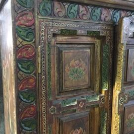 East Indian , floral painted and chip carved paneled door cabinet detail