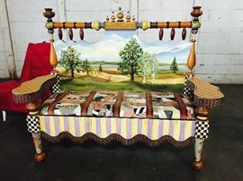 Mackenzie-Childs hand made, hand painted settee featuring a patch quilt design seat