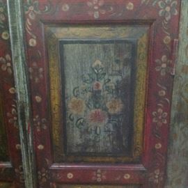 Detail floral painted  paneled Indian cabinet