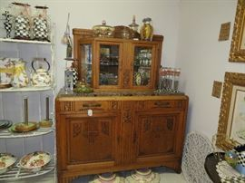 Art Deco French Marble Top Side Board  Hutch