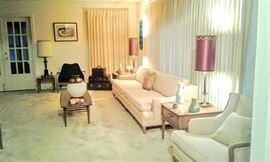 Great panoramic side view of Formal Living Room oozing with mid-century and early 1960's furniture and decor.