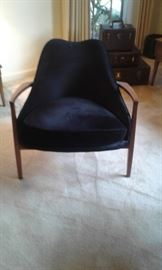 "Front view of ""Fabulous Mid -Century or early 1960's"" black velvet upholstered chair in teak wood frame."