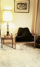 "Lovely small Lamp table (one of a pair) and Lamp to accentuate ""That Fabulous Mid-Century black velvet Chair!"""