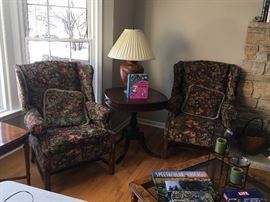 Walter E. Smithe arm chairs and round pedestal table