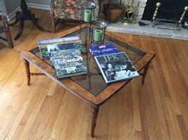 Burl wood and glass coffee table