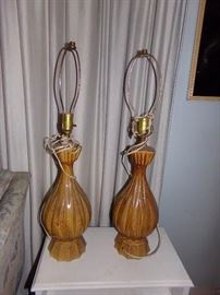 Large brown pottery lamps