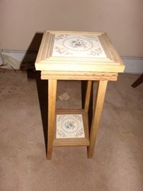 Small Table w/ tile top and shelf