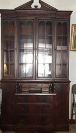 Beautiful Mahogany China Cabinet with Secretary Drawers and cupboards