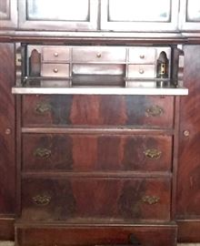 Interior of secretary china cabinet