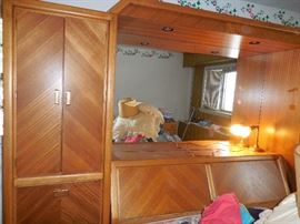 1970's Lenoir Bedroom cupboard and bookcase headboard with Mirrored lighting alcove