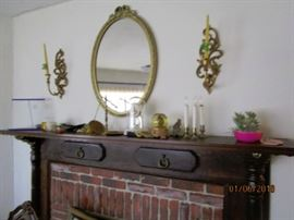 Hand built mantle made by the homeowner.  Beautiful work.