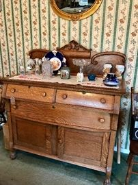 Antique Oak Sideboard With Carving
