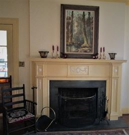 Antique Fire Screen & Antique Chair