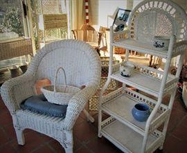 Wicker Chair & Shelves