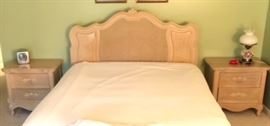 3 of 5 piece bedroom set. Queen size bed with matching bedside tables