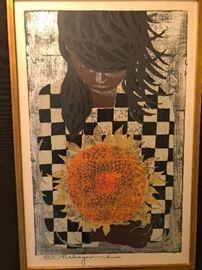 Tadashi Nakayama framed woodblock print
