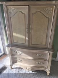 4th of 5 pieces to queen bedroom set. Entertainment armoire